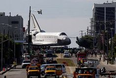 Endeavour: The Space Shuttle Endeavour slowly turns into Manchester Blvd