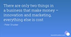2 things that make money- innovation and marketing