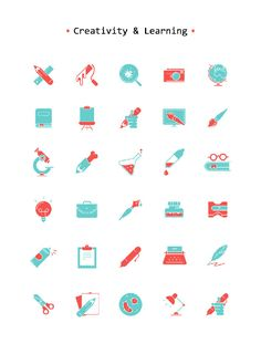 A free icons set with 30 uniquely designed icons all around creativity, learning and experimentation. The set comes in different formats including PSD, AI, SVG and PNG. Icon Design, Design Ios, Flat Design Icons, Flat Icons, Design Trends, Graphic Design Posters, Graphic Design Illustration, Graphic Design Inspiration, Icons Web