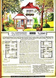 Vintage Sears Roebuck & Co. The Hathaway Cottage Floor Plans