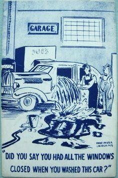 1940s Vintage Car Wash Postcard
