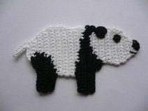 Pandabär - Häkelapplikation
