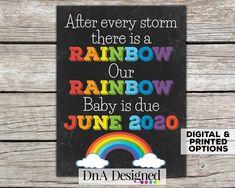 Rainbow Baby Pregnancy Chalkboard Announcement - Baby on the Way Photo Prop Rainbow Baby Announcement, Cute Baby Announcements, Chalkboard Print, Chalkboard Designs, Large Photo Prints, Dna Design, Baby Shower Fun, Baby On The Way, Baby Gender