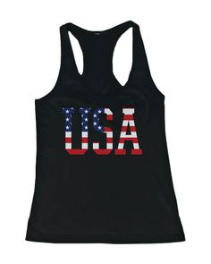 a550dbe1e Womens Funny Graphic Statement - US Flag In USA Letters. Tank ShirtTank ManBlack  ...