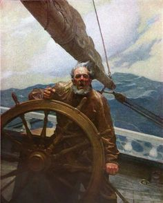 Newell Convers Wyeth - The Rakish Brigantine - Sea Captain in Storm Painting Jamie Wyeth, Frederic Remington, Nc Wyeth, Howard Pyle, Sea Captain, Jackson Pollock, Treasure Island, American Artists, Belle Photo