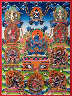 A thangka of Guhyasamaja in union with his consort Sparshavajra. In the lower right corner is Four-Faced Mahakala. http://www.tsemrinpoche.com/tsem-tulku-rinpoche/buddhas-dharma/dalai-lamas-controversial-thoughts-about-four-faced-mahakala-and-setrap.html