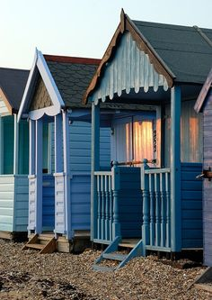 Blue Beach Huts at Sunset