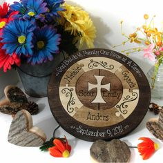 This unity ceremony wedding puzzle features a new cross chosen by the couple and three extra pieces to serve ss place holders for their future children