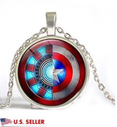Superhero Captain America Iron Man Shield Glass Cabochon Pendant Chain Necklace