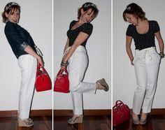 Look do dia: Como usar calça branca com espadrille de glitter e bolsa Candy Bag da Furla. Dicas de moda e Luta do Dia no blog e moda.