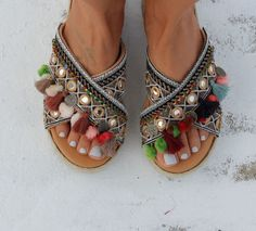 Handmade leather sandals Artisanal sandals Greek leather