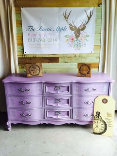 Love how this custom color chalk paint turned out on this beautiful dresser for a nursery! Lavender Check out my page Facebook.com/therusticappleblog