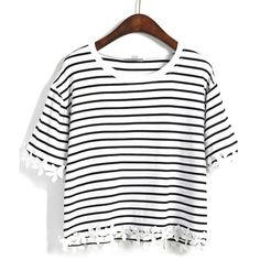 SheIn(sheinside) Black Striped With Appliques Crop T-Shirt (12 AUD) ❤ liked on…