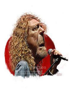 El cantante Robert Plant de Led Zappelin, caricaturizado por el artista Rocky Sawyer.     Robert Pl...