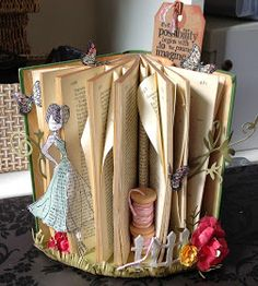 Scrap, Paper, Scissors: 'Introduction to Altered Art' Workshop.You can find Altered art and more on our website.Scrap, Paper, Scissors: 'Introduction to Altered Art' Workshop. Old Book Crafts, Book Page Crafts, Folded Book Art, Book Folding, Origami, Book Projects, Craft Projects, Art Altéré, Altered Book Art