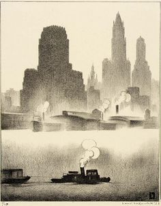 """Louis Lozowick (Russian born American, 1892 – 1973) was a painter and printmaker. """"Dusk"""", 1931 ~ lithograph"""