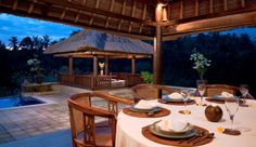 Villa Santai: Why not dine outside by the tiki torch light? Bali, Indonesia