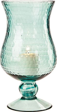 Silver Hurricane Candle Holders | Large Ice Blue Glass Hurricane Candle Holders