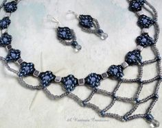Seed Bead Jewelry Set / Beadweave Jewelry Set reminiscent of