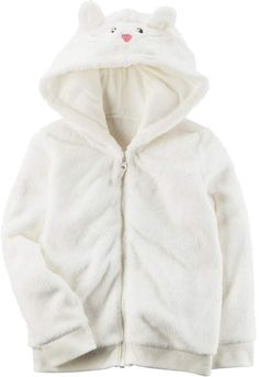 4aa8bfe7e Carter's Toddler Girl Carter's White Cat Sherpa 3D Ear Zip-Up Hoodie. Looks  warm and cozy! #cuteness #adorable #ad