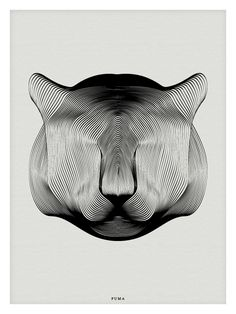Highly stylized Puma illustration. Andrea Minini's Animals in Moiré uses a style pattern known as moiré, in which the interplay of multiple sets of lines creates depth and contour. More at our site.