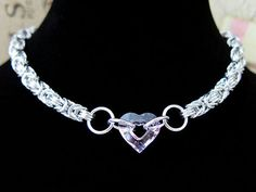 Pink Swarovski Crystal Sweetheart Chainmaille Choker - Chainmaille Necklace by @Alyce n Maille