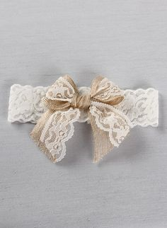 Country Romance Garter Set- Rustic burlap and lace garter set with a jute and lace bow. Burlap wedding.