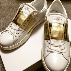 VALENTINO Gold Stripe Sneakers - SPENTMYDOLLARS | Fashion Trends, Shoes, Bags, Accessories for Men & Women