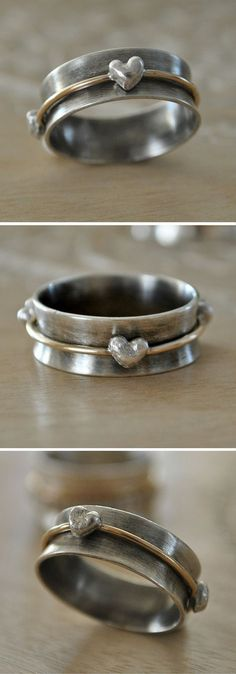 Valentine's Gift Spi  Valentine's Gift Spinner Ring with Fine Silver Hearts