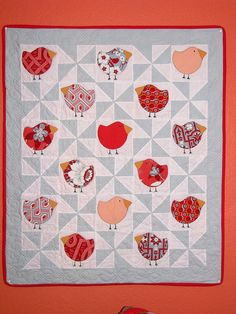 birdie quilt - would use brighter color for pinwheel sections and surrounding border