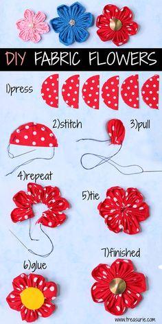 diy fabric flowers fabric crafts DIY Fabric Flowers: Pretty flowers to make Making Fabric Flowers, Cloth Flowers, Felt Flowers, Diy Flowers, Paper Flowers, Pretty Flowers, Flower Diy, Flower Making With Cloth, Flower Wall