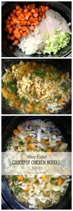 The best CROCKPOT chicken noodle soup! This chicken noodle soup recipe is the ultimate comfort food. The best CROCKPOT chicken noodle soup! This chicken noodle soup recipe is the ultimate comfort food. Crock Pot Recipes, Slow Cooker Recipes, Cooking Recipes, Healthy Recipes, Crock Pots, Hamburger Recipes, Best Crockpot Recipes, Cooking Games, Vegetarian Cooking