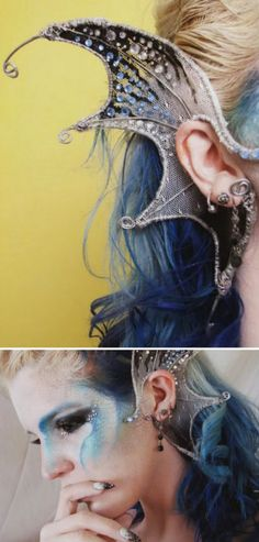 Mermaid Ears - You can create these DIY Mermaid Ears using wire, fabric, nail polish and mini gems. Make any fantasy ears you can think of using the easy techniques shown in this video tutorial. Cosplay Tutorial, Cosplay Diy, Halloween Cosplay, Halloween Make Up, Halloween Crafts, Fairy Cosplay, Alien Cosplay, Epic Halloween Costumes, Halloween Mermaid