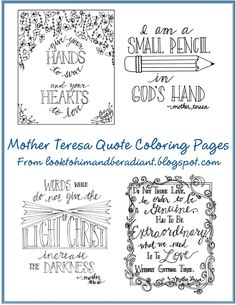 September 4th is Mother Teresa's canonization.  Use these coloring pages to celebrate.  From Look to Him and Be Radiant Blog