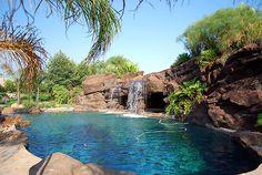backyard, waterfall, swimming pool, spa, artificial rock