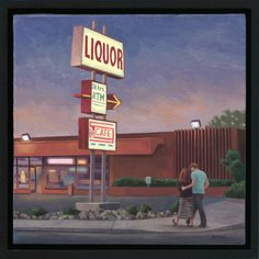 """Tony Peters, """"Adams Ave. Liquor"""" 12 x 12 inches, oil on canvas."""