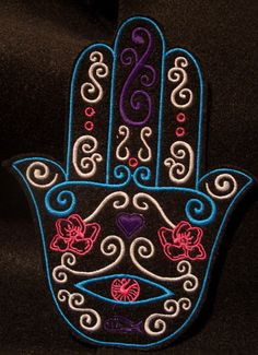 embroidered hamsa with flowers heart and evil eye by HeatherOstrow, $7.00