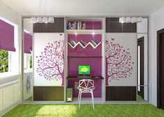 Gorgeous Purple and White Girls Bedroom with Tree Decal Wardrobe and Grass Synthetic Rug by Irako Design Green Girls Rooms, Purple Rooms, Little Girl Rooms, Woman Bedroom, Girls Bedroom, Bedroom Decor, Bedroom Furniture, Master Bedroom, Bedroom Wall