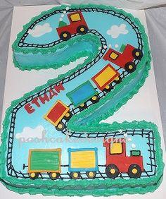 2 Train Theme Cake
