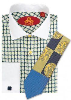 Men's Uptown Dress Shirt by Robert Lewis - White/Gold Wavy Check