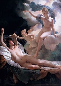 "Guerin Pierre Narcisse - Morpheus and Iris  ///  Morpheus ( or Μορφέας, Morpheas, ""shaper [of dreams]"") in Greek mythology is the god of dreams,leader of the Oneiroi. Morpheus has the ability to take any human form and appear in dreams. His true semblance is that of a winged daemon, imagery shared with many of his siblings."