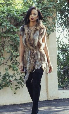 Draya michele in thigh high boots and faux fur