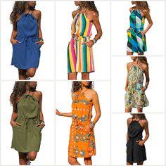 8f0ef345737a Womens Floral Print Sleeveless Halter Neck Summer Dress Holiday Boho  Sundress #fashion #clothing #