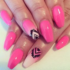 Pink and Aztec  accent nail