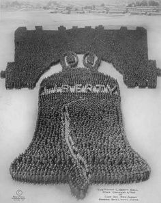 The 1917 Liberty Bell —including the famous crack— required 25,000 men from Fort Dix, New Jersey.