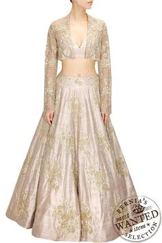 Buy Stone rose embroidered lehenga with matching rosette jacket and bustier by PAYAL SINGHAL online in India at best price.Featuring a stone dupion silk flared lehenga embellished with boota rose motifs surrounded by zari, saadi Indian Wedding Outfits, Pakistani Outfits, Indian Outfits, Indian Clothes, Desi Clothes, Ethnic Outfits, Indian Weddings, Wedding Attire, Choli Designs