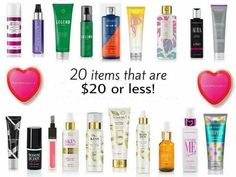 Pure Romance 20 items that are $20 or less. I use these as hostess gifts. Www.pureromance.com/hannahspear