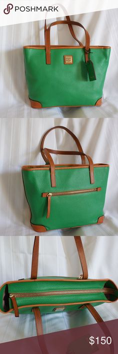"""Dooney & Bourke Kelly Green Charleston Dimensions10"""" x 12"""" x 4.5"""" Product Features • Pebble grain leather • Dual carry handles with a 8.5"""" drop length • Back zip pocket • Zipper closure • Fully lined interior • Two inside slip pockets • Inside zip pocket • Cell phone pocket and key hook • This is a new w/o tags, unused item Dooney & Bourke Bags Shoulder Bags"""