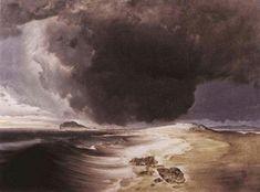 """[ The magnificent seascapes of Norwegian painter Peder Balke. Scandinavian Paintings, Tweed, Medieval Castle, Landscape Photos, Twitter, Impressionism, Art Museum, Norway, Illustration Art"