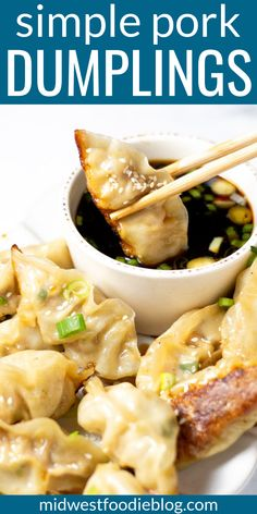 May 2019 - Just over 30 minutes from start to finish these pork dumplings are simple, satisfying and loaded with flavor! They're crispy yet tender making them the perfect main course or party appetizer! Wonton Recipes, Pork Recipes, Appetizer Recipes, Cooking Recipes, Healthy Recipes, Pork Wonton Recipe, Dutch Recipes, Chicken Wing Recipes, Cleaning Recipes